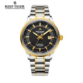 Classic Imperator Black Dial Men's Automatic Two Tone Watch