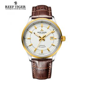 Classic Imperator White Dial Brown Leather Men's Automatic Steel Watch