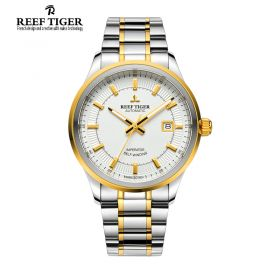 Classic Imperator White Dial Men's Automatic Two Tone Watch