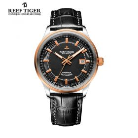 Classic Imperator Black Dial Rose Gold Bezel Automatic Steel Watch