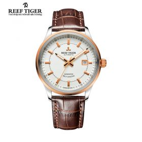 Classic Imperator White Dial Black Calfskin Leather Mens Automatic Watch