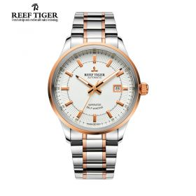 Classic Imperator Mens White Dial Two Tone Case Automatic Watch
