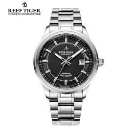 Classic Imperator Mens Black Dial Full Stainless Steel Automatic Watch