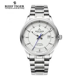 Classic Imperator Mens White Dial Full Stainless Steel Automatic Watch