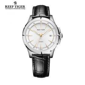 Classic Spirit Of Liberty White Dial Black Leather Automatic Dress Watch