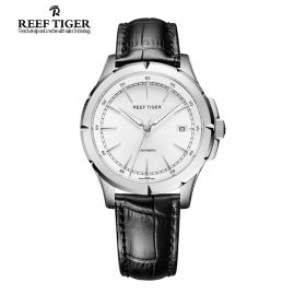 Classic Spirit Of Liberty White Dial Black Leather Steel Mens Watch