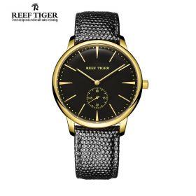 Classic Vintage Couple Watch For Mens Black Dial Yellow Gold Quartz Watch