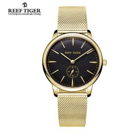 Classic Vintage Couple Watch Black Dial Full Yellow Gold For Men