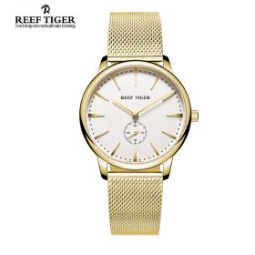 Classic Vintage Couple Watch White Dial Full Yellow Gold For Men