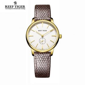 Classic Vintage Couple Watch White Dial Yellow Gold Watch For Women