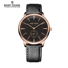 Classic Vintage Couple Watch Black Dial Rose Gold Watch For Men