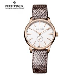 Classic Vintage Couple Watch White Dial Rose Gold Case For Women