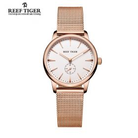 Classic Vintage Couple Watch White Dial Full Rose Gold For Women