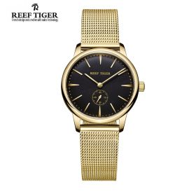 Classic Vintage Couple Watch Black Dial Full Yellow Gold For Women
