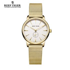 Classic Vintage Couple Watch White Dial Full Yellow Gold For Women