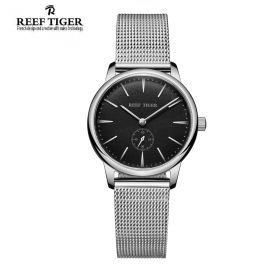 Classic Vintage Couple Watch Black Dial Full Steel For Women