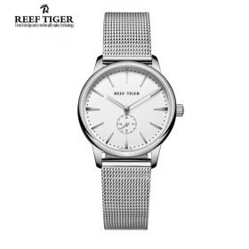 Classic Vintage Couple Watch White Dial Full Steel For Women