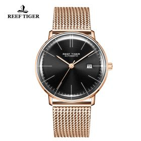 Classic Legend Mens Rose Gold Black Dial Automatic Watch