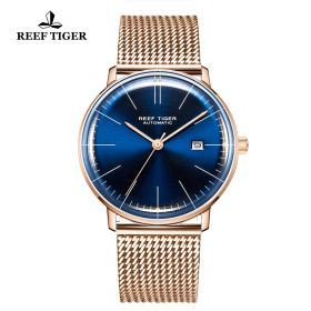 Classic Legend Mens Rose Gold Blue Dial Automatic Watch