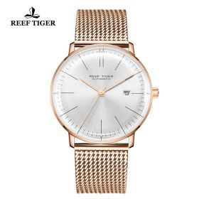 Classic Legend Mens Rose Gold White Dial Automatic Watch
