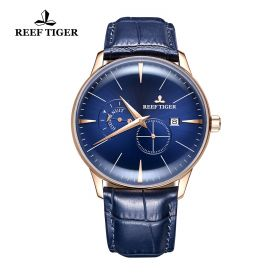 Classic Artisan Rose Gold Blue Dial Mens Automatic Watch