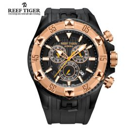 Aurora Hercules Chrono Black Dial Black Rubber Rose Gold Bezel Men's Watch