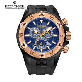 Aurora Hercules Chrono Blue Dial Black Rubber Rose Gold Bezel Men's Watch