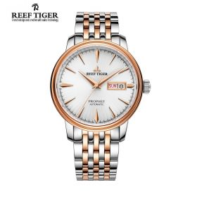 Classic Prophet White Dial Two Tone Case Mens Automatic Watch