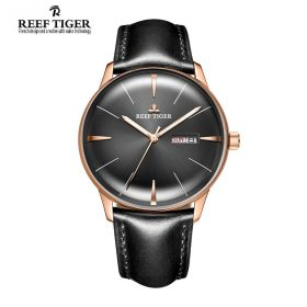Classic Heritor Black Dial Rose Gold Mens Automatic Watch