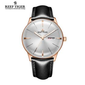 Classic Heritor White Dial Rose Gold Mens Automatic Watch