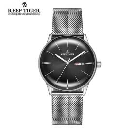 Classic Heritor Black Dial Steel Mens Automatic Watch