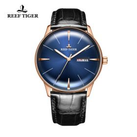 Classic Heritor Blue Dial Rose Gold Mens Automatic Watch