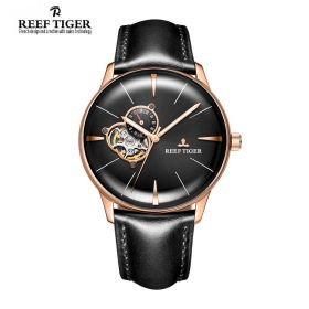 Classic Glory Black Dial Rose Gold Mens Automatic Watch