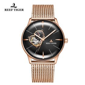 Classic Glory Mens Black Dial Rose Gold Automatic Watch