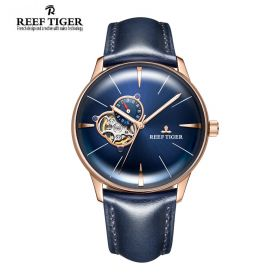 Classic Glory Blue Dial Rose Gold Mens Automatic Watch