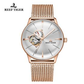 Classic Glory Mens White Dial Rose Gold Automatic Watch
