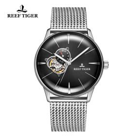 Classic Glory Mens Black Dial Steel Automatic Watch