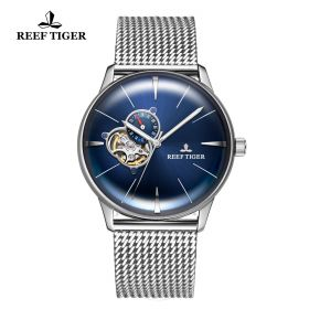 Classic Glory Mens Blue Dial Steel Automatic Watch