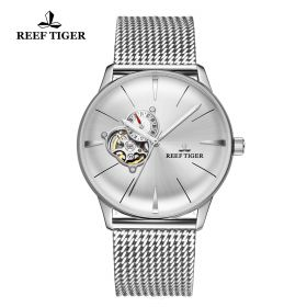 Classic Glory Mens White Dial Steel Automatic Watch