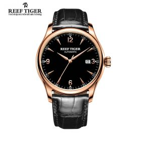 Classic Heritage Black Dial Rose Gold Mens Automatic Watch