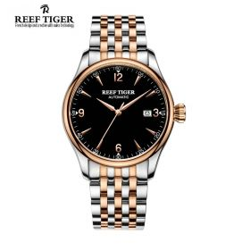 Classic Heritage Rose Gold Black Dial Mens Automatic Watch