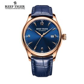 Classic Heritage Blue Dial Rose Gold Mens Automatic Watch