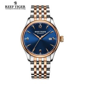 Classic Heritage Rose Gold Blue Dial Mens Automatic Watch