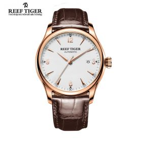 Classic Heritage White Dial Rose Gold Mens Automatic Watch