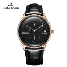 Seattle Navy II Black Dial Rose Gold Leather Strap Automatic Watch