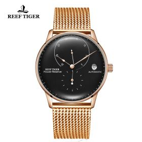 Seattle Navy II Black Dial Rose Gold Bracelet Automatic Watch