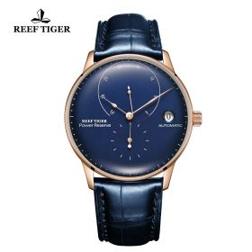 Seattle Navy II Blue Dial Rose Gold Leather Strap Automatic Watch