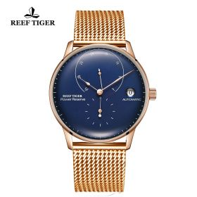 Seattle Navy II Blue Dial Rose Gold Bracelet Automatic Watch