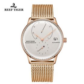 Seattle Navy II White Dial Rose Gold Bracelet Automatic Watch