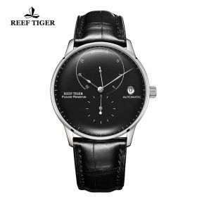 Seattle Navy II Black Dial Stainless Steel Leather Strap Automatic Watch